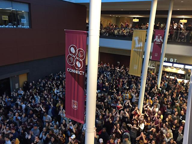 Loyola students and fans at the Damen Student Center watch party. (Photo: Henry Bushnell/Yahoo Sports)
