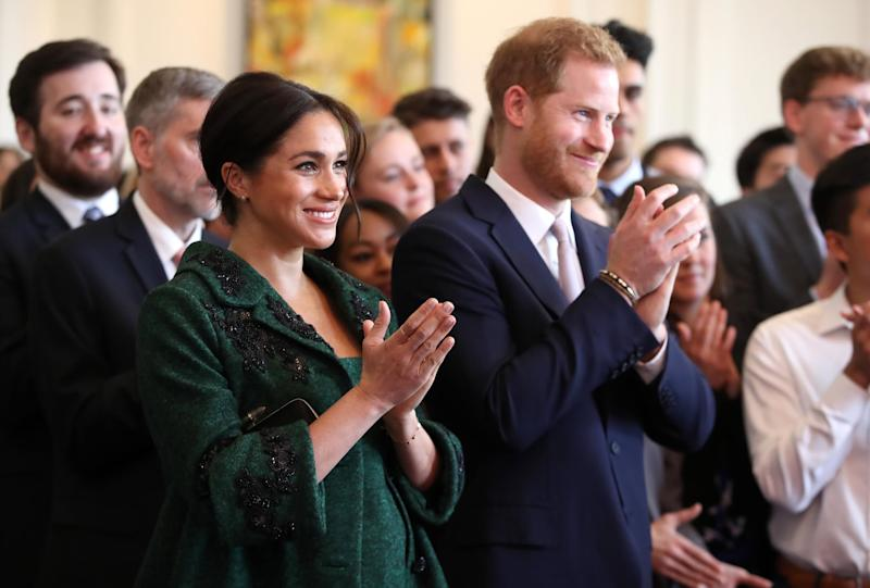LONDON, ENGLAND - MARCH 11: Meghan, Duchess of Sussex and Prince Harry, Duke of Sussex watch a musical performance as they attend a Commonwealth Day Youth Event at Canada House on March 11, 2019 in London, England. The event will showcase and celebrate the diverse community of young Canadians living in London and around the UK. (Photo by Chris Jackson - WPA Pool/Getty Images)