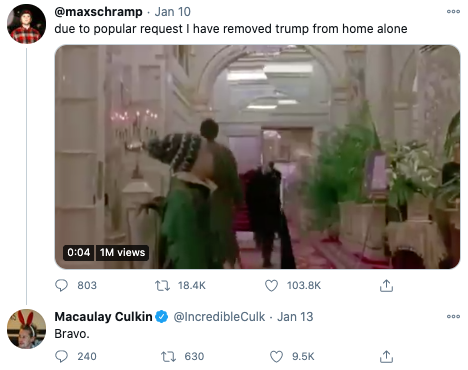 Fans are calling for Trump to be edited out of his infamous Plaza Hotel scene in Home Alone 2. Photo: Twitter.