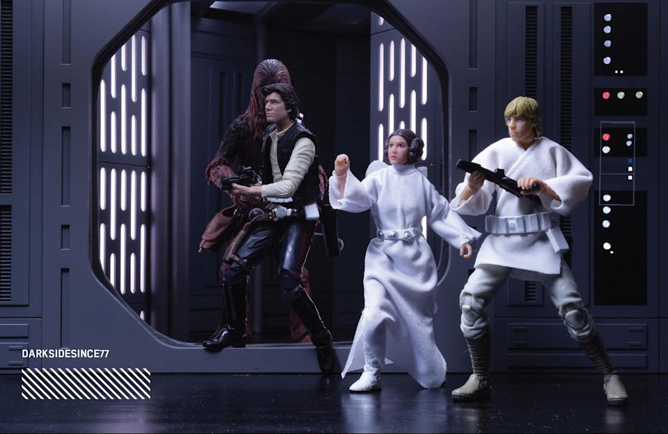 """<p>""""This scene is powerful to me because it has so many different things going on at once. First, to have Luke, Leia, Han and Chewbacca all in one shot is magnetic; but to me, the real story in this shot is in what is to come. At this point in the photo, Luke sees Darth Vader for the first time unaware of what his future holds for him and what he will learn soon enough."""" (Photo: <a href=""""https://www.instagram.com/darksidesince77/"""" rel=""""nofollow noopener"""" target=""""_blank"""" data-ylk=""""slk:@darksidesince77"""" class=""""link rapid-noclick-resp"""">@darksidesince77</a>/Hasbro) </p>"""