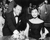 <p>Frank Sinatra and Audrey Hepburn at the Sands in 1956. The two actors were both Oscar winners the same year (1954), yet never appeared in a film together.</p>