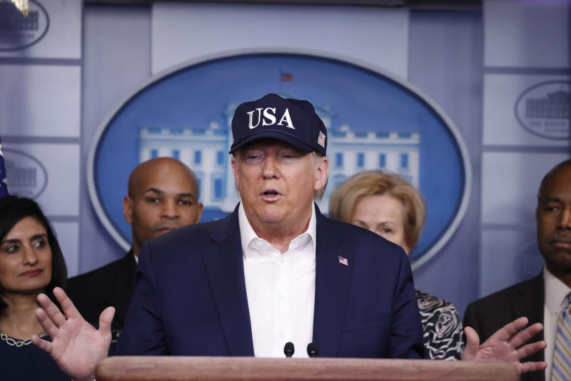 President Donald Trump speaks during briefing on coronavirus in the Brady press briefing room at the White House, Saturday, March 14, 2020, in Washington. (AP Photo/Alex Brandon)