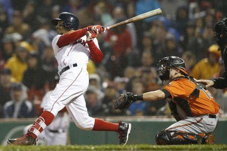 May 19, 2018; Boston, MA, USA; Boston Red Sox right fielder Mookie Betts (50) bats during the seventh inning against the Baltimore Orioles at Fenway Park. Mandatory Credit: Greg M. Cooper-USA TODAY Sports