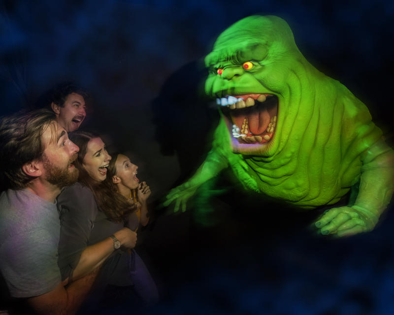 """Ghostbusters"" villain Slimer scares visitors at Halloween Horror Nights at Universal Studios Hollywood. (Photo: David Sprague)"