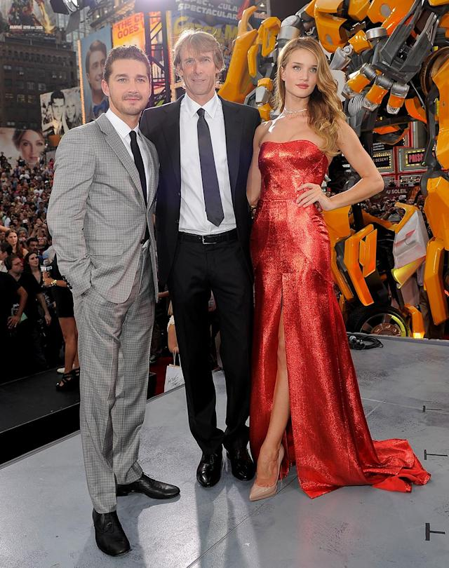 <p>LaBeouf, Bay, and Rosie Huntington-Whiteley (who replaced Fox as the female lead) pose at the New York premiere of <em>Transformers: Dark of the Moon</em> on June 28, 2011. (Photo: Jemal Countess/Getty Images) </p>