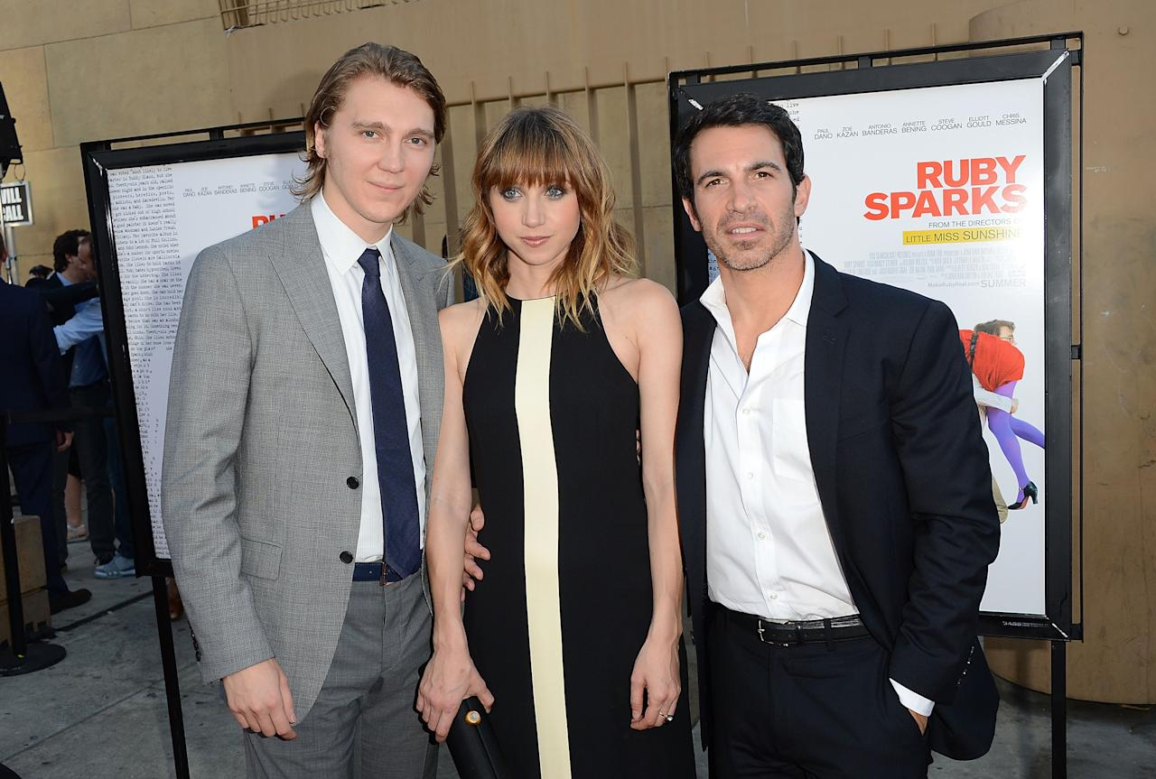 HOLLYWOOD, CA - JULY 19:  (L-R) Actors Paul Dano, Zoe Kazan, and Chris Messina attend Fox Searchlight's 'Ruby Sparks' Los Angeles premiere held at the Egyptian Theatre on July 19, 2012 in Hollywood, California.  (Photo by Jason Merritt/Getty Images)