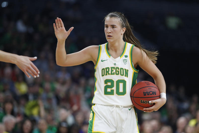 Oregon's Sabrina Ionescu (20) plays against Stanford during an NCAA college basketball game in the final of the Pac-12 women's tournament Sunday, March 8, 2020, in Las Vegas. (AP Photo/John Locher)