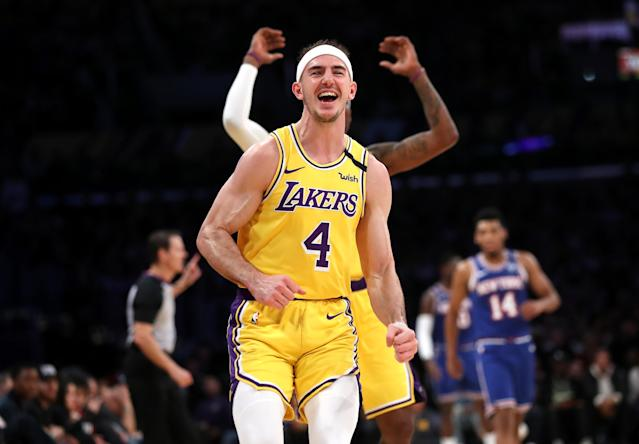 "Los Angeles Lakers guard Alex Caruso has earned the ""GOAT"" nickname from LeBron James. (Sean M. Haffey/Getty Images)"