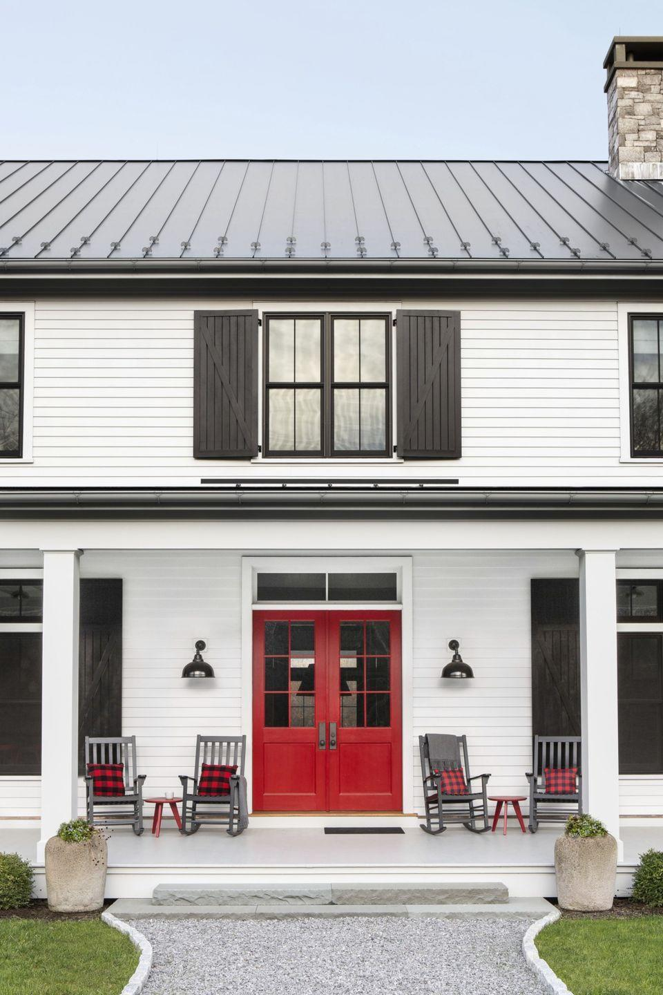 """<p>Take a simple approach by sticking to white and black and adding a stark pop of color with this playful red.</p><p><a class=""""link rapid-noclick-resp"""" href=""""https://www.benjaminmoore.com/en-us/color-overview/find-your-color/color/pm-18/heritage-red"""" rel=""""nofollow noopener"""" target=""""_blank"""" data-ylk=""""slk:SHOP HERITAGE RED BY BENJAMIN MOORE"""">SHOP HERITAGE RED BY BENJAMIN MOORE</a></p>"""