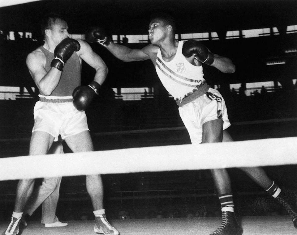 """<p>Muhammad Ali won a gold medal boxing in the '60 Olympics. he then allegedly threw it in the Ohio River after being denied service at a """"whites only"""" restaurant. </p>"""