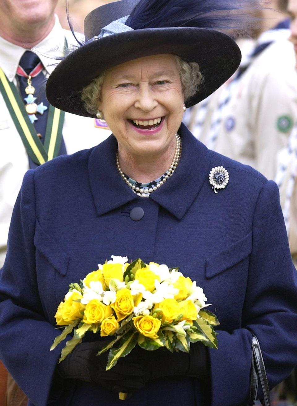 <p>The Sapphire Chrysanthemum Brooch has been in the Queen's collection since her days as a princess and is a rare piece that predates her ascension to the throne. She received it as a gift in 1946 when she launched an oil tanker named the <em>British Princess.</em></p>