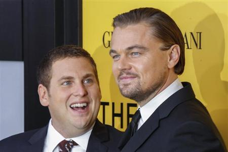 "Cast members Leonardo DiCaprio and Jonah Hill arrive for the premiere of the film ""The Wolf of Wall Street"" in New York"