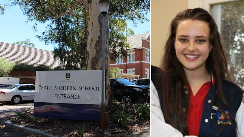 Katherine Langford made a fleeting visit to the Subiaco school in a show of solidarity against the WA state government.