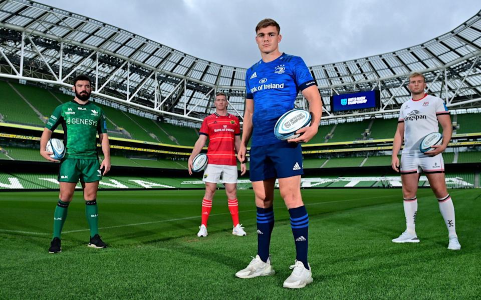 Paul Boyle of Connacht, Chris Farrell of Munster, Garry Ringrose of Leinster and Kieran Treadwell of Ulster - Sportsfile
