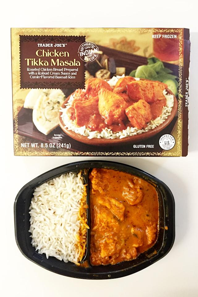"""<p>""""Combined, my sister and I have probably eaten over 500 boxes of Trader Joe's Chicken Tikka Masala. It's delicious and perfect to pack for the office or heat up after a long day at work (pro tip: it's also helped cure a hangover or two). It feels like comfort food but is portioned so perfectly that I'm satisfied without doing damage to my diet (which I cannot say for Indian delivery)."""" - Lizzy Eisenberg, director, Business Development</p> <p>""""Rivals the best Indian food restaurants - and it's frozen!"""" - Shannon Vestal, director, Celebrity and Entertainment</p>"""