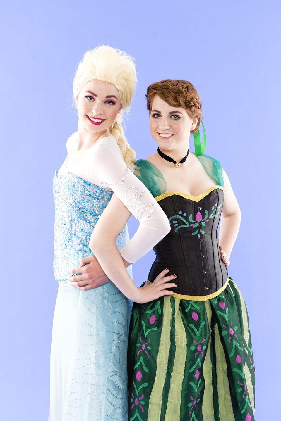 """<p>When it comes to your costume, don't """"let it go"""" this Halloween. Grab your bestie and pull off matching outfits inspired by your favorite Disney film.</p><p><strong>Get the tutorial at <a href=""""https://www.brit.co/frozen-anna-elsa-costume/"""" rel=""""nofollow noopener"""" target=""""_blank"""" data-ylk=""""slk:Brit & Co"""" class=""""link rapid-noclick-resp"""">Brit & Co</a>. </strong></p><p><strong><a class=""""link rapid-noclick-resp"""" href=""""https://www.amazon.com/gp/product/B00IF84XQ6/?tag=syn-yahoo-20&ascsubtag=%5Bartid%7C10050.g.21349110%5Bsrc%7Cyahoo-us"""" rel=""""nofollow noopener"""" target=""""_blank"""" data-ylk=""""slk:SHOP WHITE CORSET"""">SHOP WHITE CORSET</a></strong></p>"""