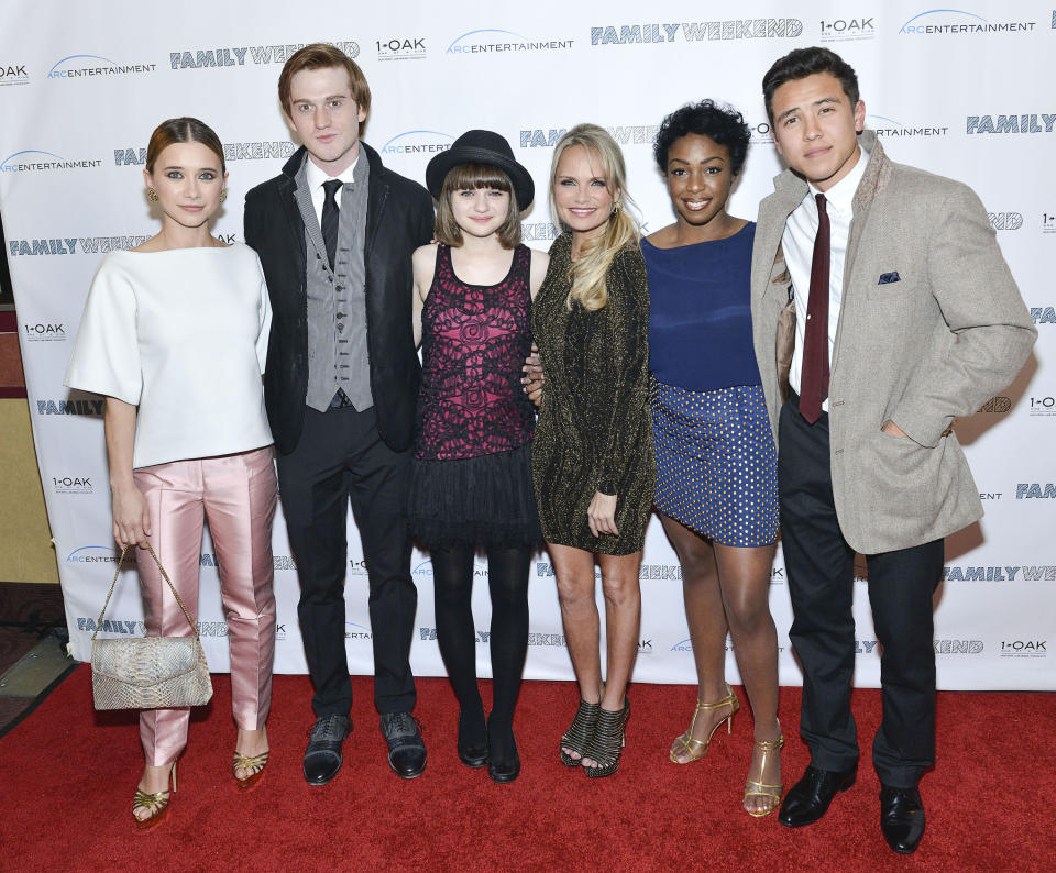 "Olesya Rulin, Eddie Hassell, Joey King, Kristin Chenowith, Lisa Lauren Smith and Chase Maser attend ""Family Weekend"" New York Screening at Chelsea Clearview Cinemas on March 21, 2013 in New York City."
