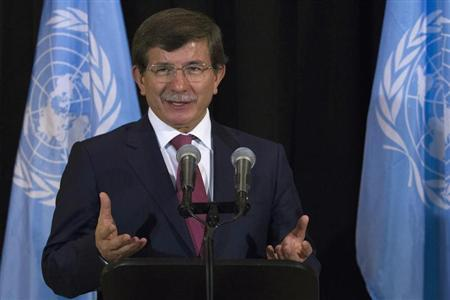 Turkey's Foreign Minister Davutoglu speaks during a news conference on the sidelines of the UN General Assembly at UN Headquarters in New York