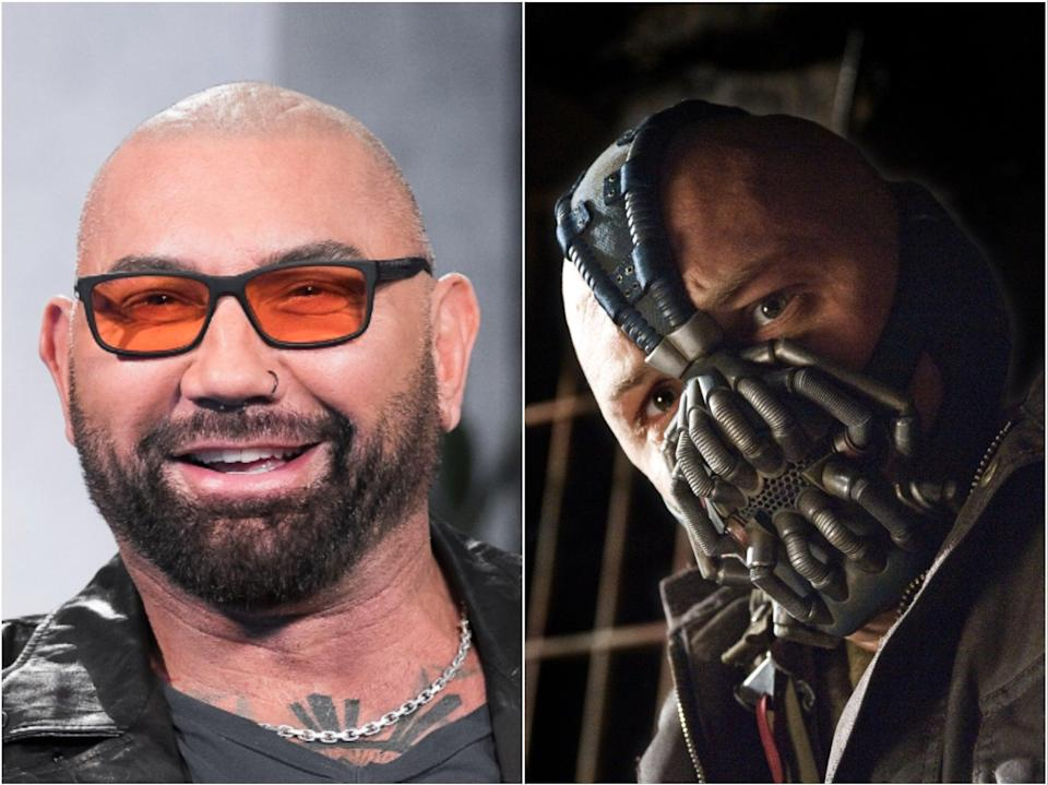Dave Bautista (left) and Tom Hardy as Bane in The Dark Knight Rises (right) (Getty/Warner Bros)