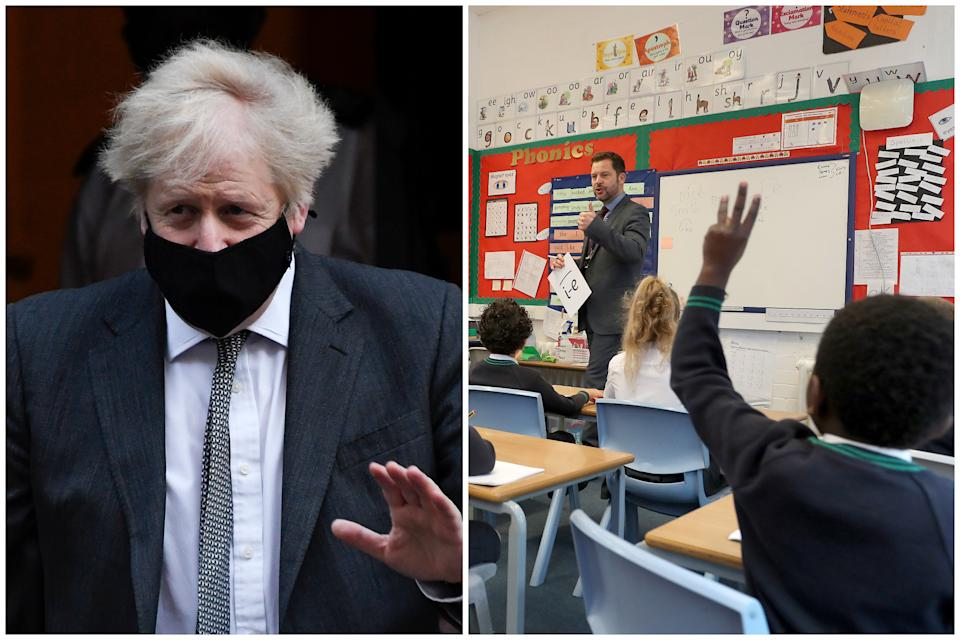 Boris Johnson has insisted schools are safe despite calls to keep them shut. (Getty/AP)