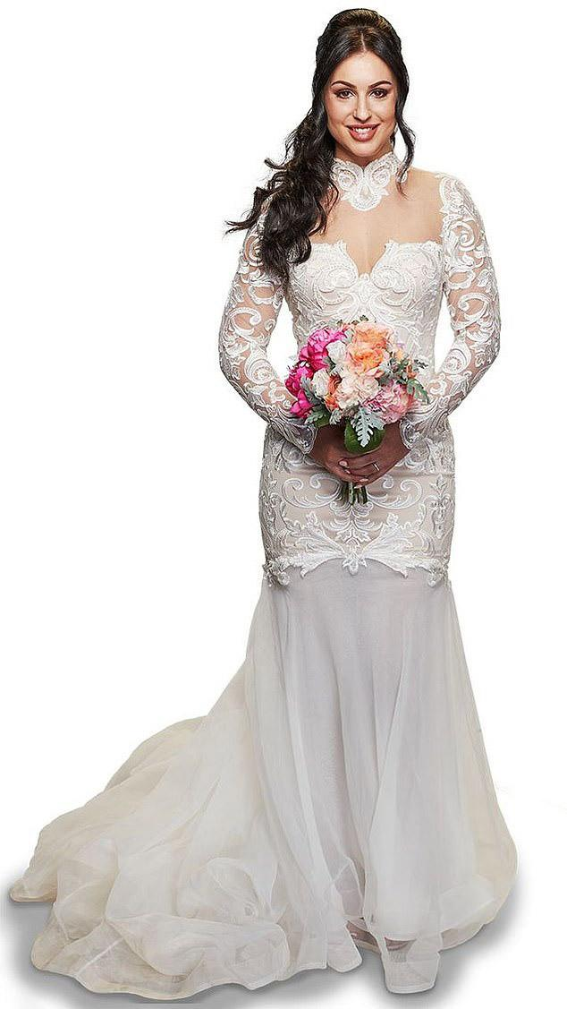 Aleks MAFS bride in high neck wedding gown and bouquet