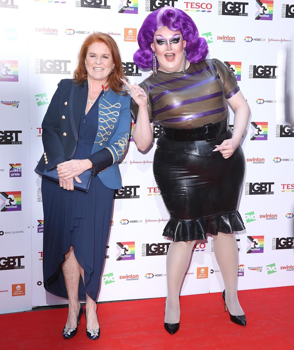 <p>Sarah, Duchess of York and Lawrence Chaney attend the British LGBT Awards 2021 at The Brewery in London on Aug. 27.</p>
