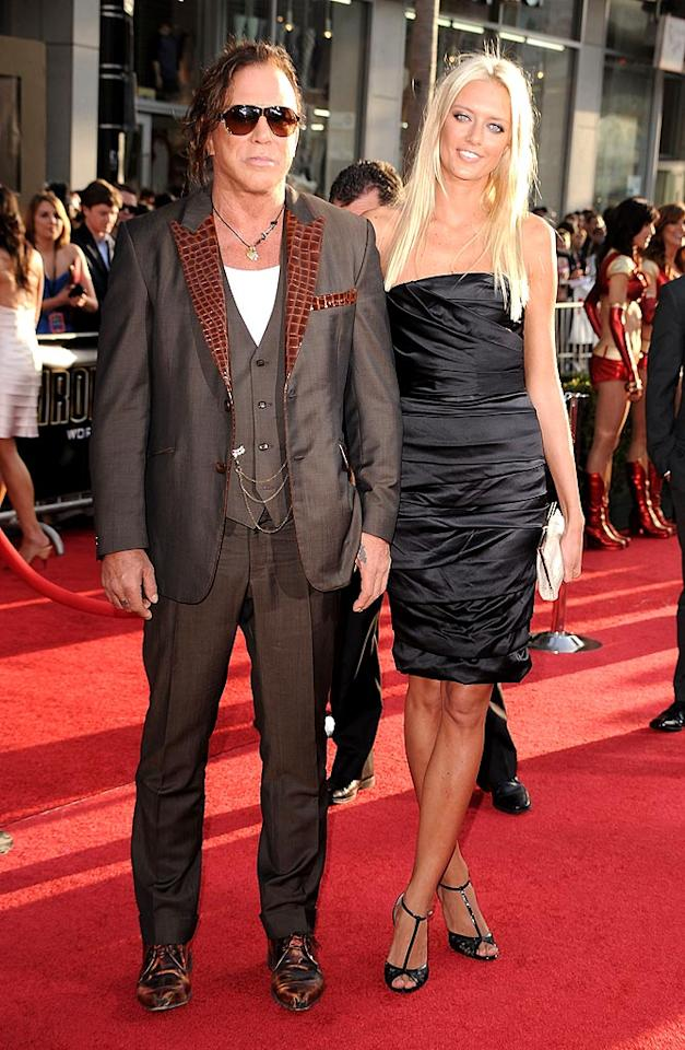 """Mickey Rourke -- who plays baddie Ivan Vanko -- committed a red carpet crime against humanity in his alligator-lapel jacket. Rourke was accompanied by his model girlfriend Anastassija Makarenko. Steve Granitz/<a href=""""http://www.wireimage.com"""" target=""""new"""">WireImage.com</a> - April 26, 2010"""