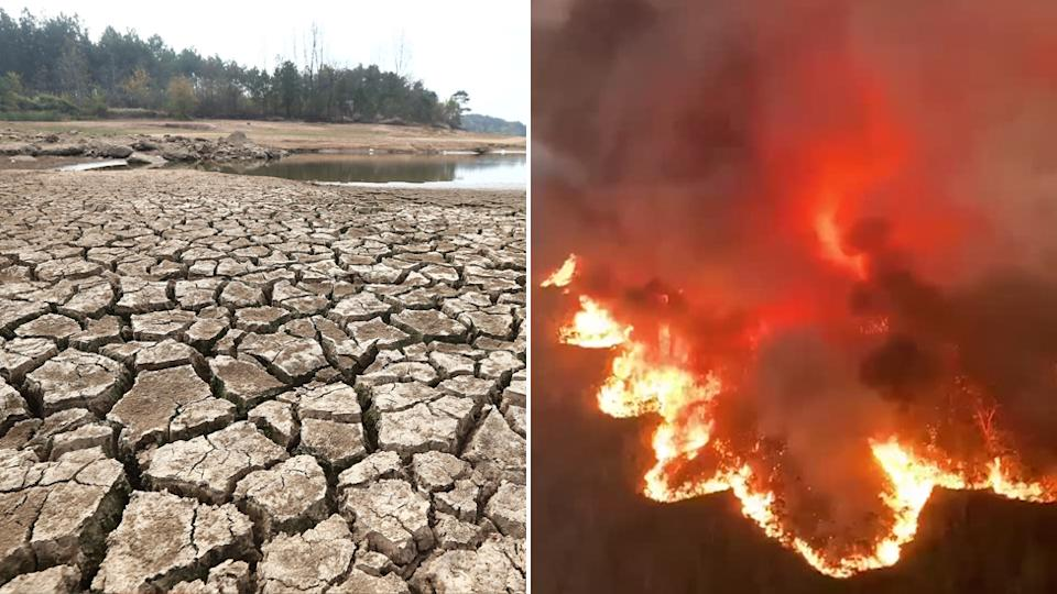 On the left is a photo showing a dried-up body of water and the right is a bushfire burning.