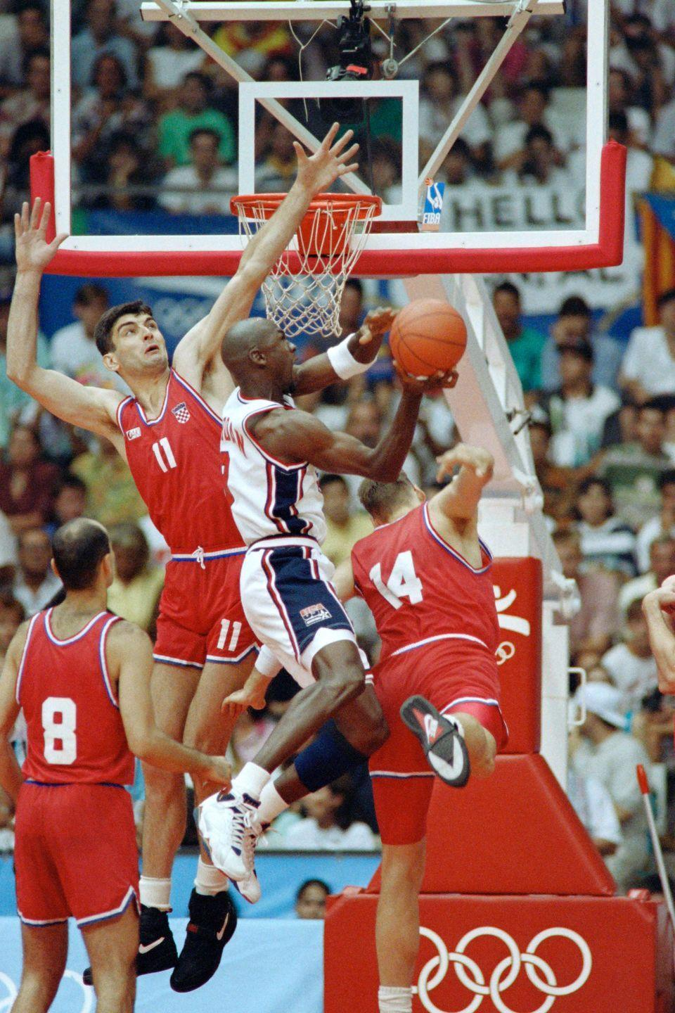 """<p>The U.S. took to the basketball court at the Barcelona Olympics with a """"Dream Team,"""" better known as Michael Jordan, Charles Barkley, Magic Johnson, Scottie Pippen, Larry Bird, Karl Malone, and Patrick Ewing.</p>"""