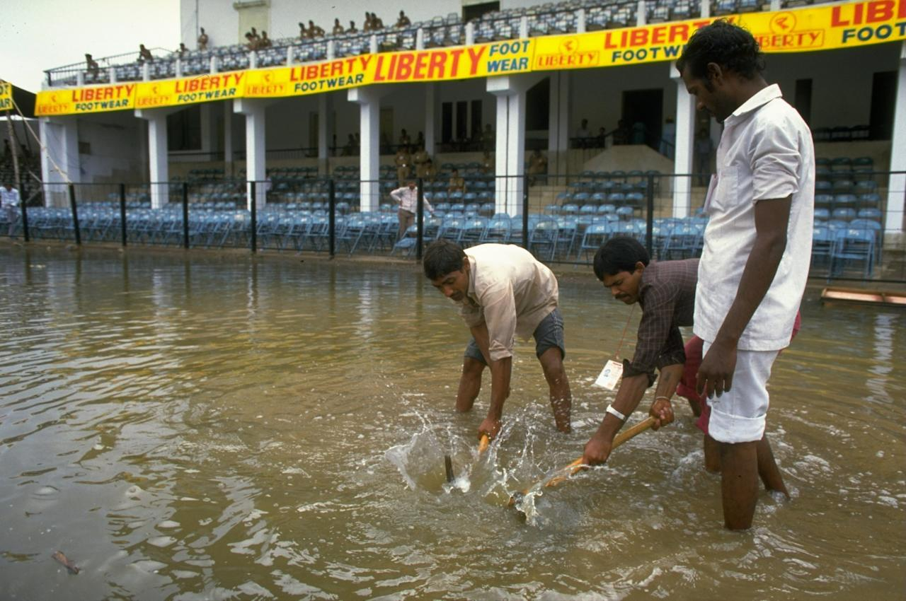 Oct 1987:  General view of the flooded pitch before a World Cup match between Australia and New Zealand in Indore, India. \ Mandatory Credit: Adrian  Murrell/Allsport