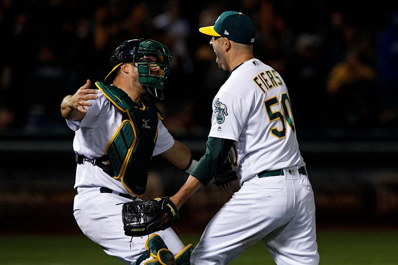 Fiers Throws Late Night No-Hitter, A's Win 2-0 Over Reds