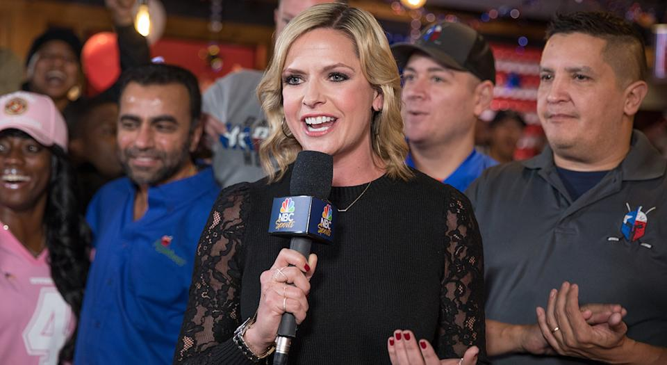 IRVING, TEXAS - NOVEMBER 10: Applebee's ® Neighborhood Grill & Bar hosted NBC Football Night in America for a live preshow broadcast, with Kathryn Tappen, to encourage military heroes to visit restaurants for a free meal on Veterans Day on November 10, 2019 in Irving, Texes. (Photo by Rick Kern/Getty Images for Applebee's Grill + Bar)