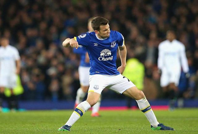 Seamus Coleman during the Premier League match between Everton and Swansea City at Goodison Park on November 19, 2016 in Liverpool, England.