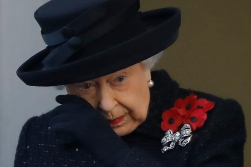 Britain's Queen Elizabeth II attends the Remembrance Sunday ceremony at the Cenotaph on Whitehall in central London, on November 10, 2019. - Remembrance Sunday is an annual commemoration held on the closest Sunday to Armistice Day, November 11, the anniversary of the end of the First World War and services across Commonwealth countries remember servicemen and women who have fallen in the line of duty since WWI. (Photo by Tolga AKMEN / AFP) (Photo by TOLGA AKMEN/AFP via Getty Images)