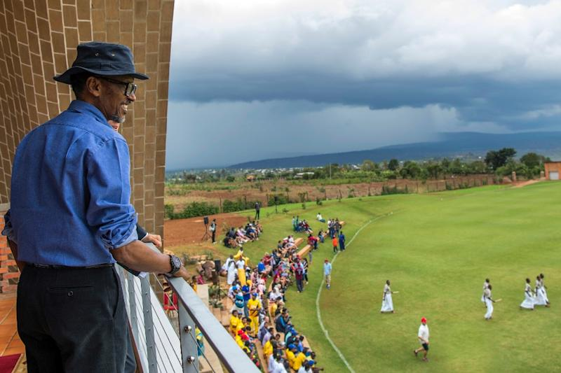 President Paul Kagame reacts as he visits the Gahanga Cricket Oval, during the official inauguration, on October 28, 2017, in Kigali (AFP Photo/Cyril NDEGEYA)
