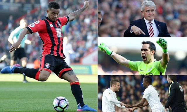 "<span class=""element-image__caption"">Clockwise from left: Bournemouth's Joshua King; Stoke manager Mark Hughes; Manchester City's Claudio Bravo; Leicester's Jamie Vardy is replaced by Ahmed Musa.</span> <span class=""element-image__credit"">Composite: Digital South/Rex Shutterstock, Reuters, PA</span>"