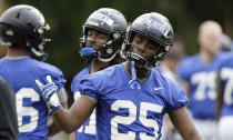 In this photo taken Friday, Aug. 2, 2019, Duke running back Deon Jackson is seen during an NCAA college football practice in Durham, N.C. (AP Photo/Gerry Broome)