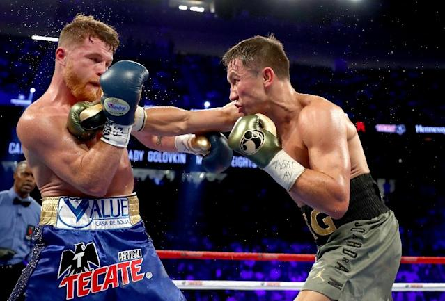 Gennady Golovkin lands a blow against Canelo Alvarez in their fight last year (AFP Photo/AL BELLO)