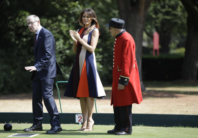 Melania Trump wore a dress by Victoria Beckham during her visit to England. (Photo: Getty Images)