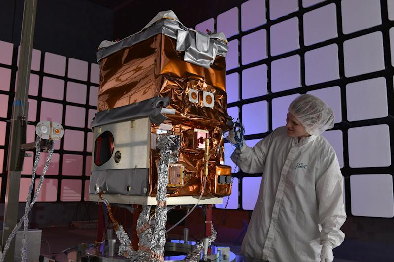 NASA's Green Propellant Infusion Mission small satellite, built by Ball Aerospace, underwent environmental testing at Ball's Boulder facility