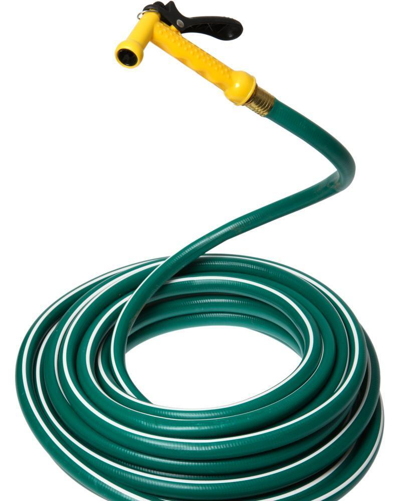 Snake in the grass: the dreaded garden hose with spray nozzle.