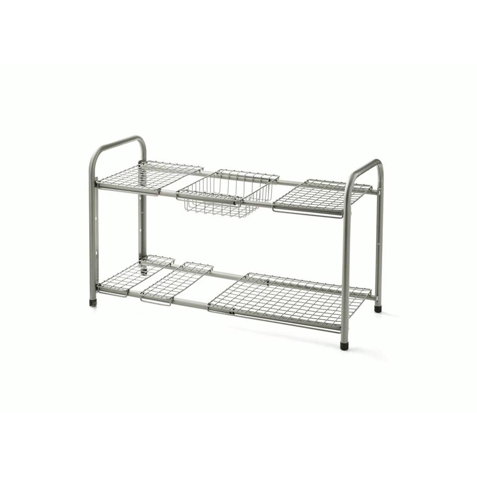<p>Make use of your under the sink space with this nifty <span>Mainstays Under the Sink Metal Storage Shelf</span> ($28). </p>