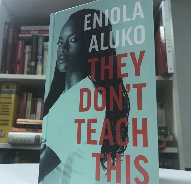 The front cover of the autobiography written by English soccer player Eniola Aluko , London, England. Friday, Sept. 13, 2019. Soccer star Eni Aluko is condemning Amazon for not removing racist reviews of her memoir posted on the online retailers web site. Of the 31 reviews on Amazon, 27 gave They Don't Teach This, which details the discrimination Aluko faced during her England career, a one-star rating. Readers have used the platform to call the book fiction, anti-white racist drivel and accuse the Juventus forward of choosing to play the race card and coming across as a racist herself. (Rob Harris/AP)