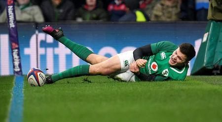Rugby Union - Six Nations Championship - England vs Ireland - Twickenham Stadium, London, Britain - March 17, 2018 Ireland's Jacob Stockdale scores their third try REUTERS/Toby Melville