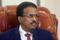 Somalia's President Mohamed Abdullahi Mohamed addresses the lower house of Parliament in Mogadishu