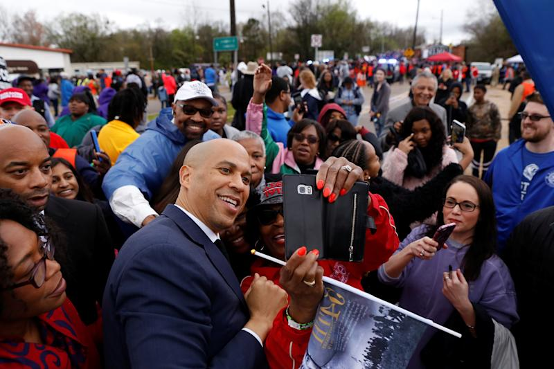 Sen. Cory Booker with supporters