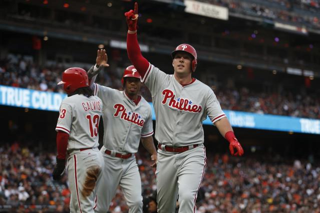 Rhys Hoskins should be owned in more fantasy leagues with the numbers he's been posting. (Photo by Stephen Lam/Getty Images)