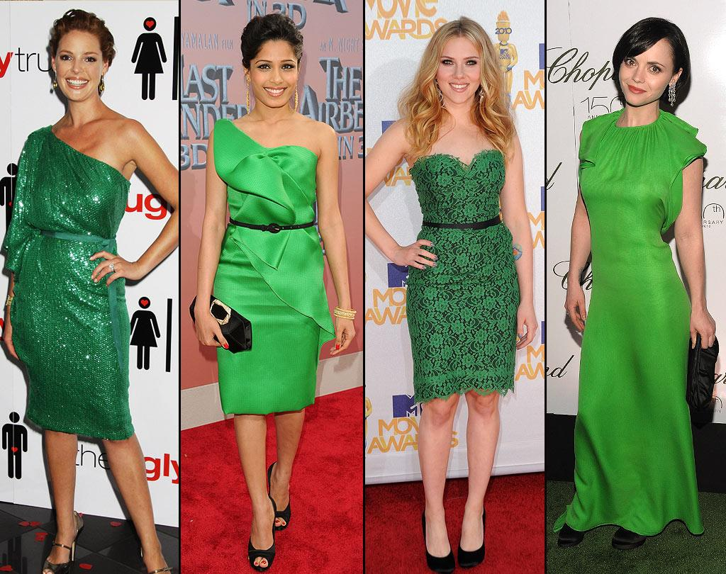 """GREEN:   Green is the color of nature, so wearing it can create a sense of peace and balance. It also is a symbol of rebirth, so it might mean someone feels like they are """"turning over a new leaf."""" So don't get green with envy over how <a href=""""http://movies.yahoo.com/movie/contributor/1800018759"""">Katherine Heigl</a>, <a href=""""http://movies.yahoo.com/movie/contributor/1810042390"""">Freida Pinto</a>, <a href=""""http://movies.yahoo.com/movie/contributor/1800022348"""">Scarlett Johansson</a> and <a href=""""http://movies.yahoo.com/movie/contributor/1800018567"""">Christina Ricci</a> look."""