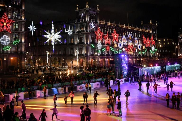 Mexico City's eco-friendly skating rink at the central Zocalo square, on December 17, 2019