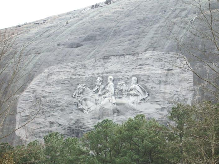 Carved stone on the side of a mountain
